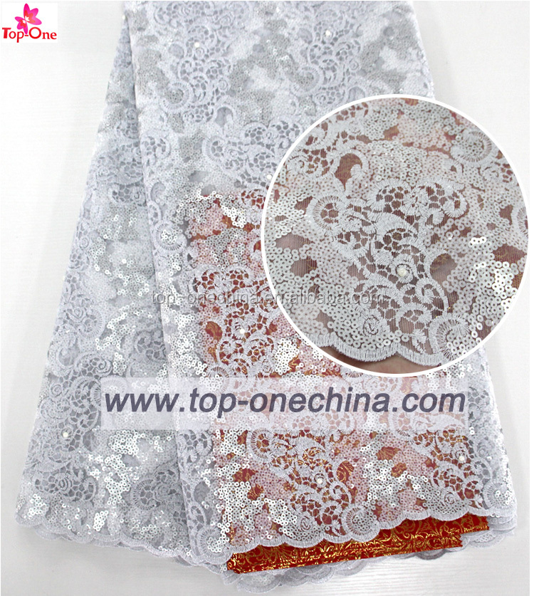 Fashion White lace fabric wholesale/sequin lace fabric /lace fabric embroidery