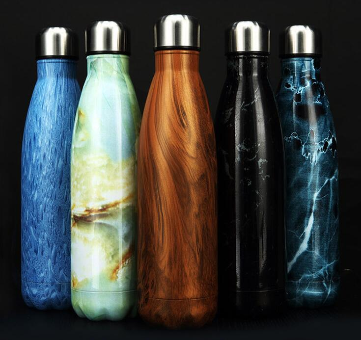 Double Wall Stainless Steel Vacuum Insulated swell Cola wood Water <strong>Bottle</strong>