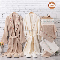 100% cotton comfortable sleepwear gift box packing family bathrobe set with lace