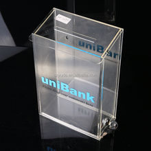 Stylish Clear High And Tall Lockable Plastic Donation Box Acrylic Cash Boxes With Silkscreen Logo