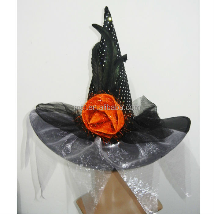 Party wholesale Fancy gauze voile beautiful witch cone hat