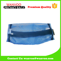 Blue Transparent Mesh Cosmetic Bag With Clear Plastic