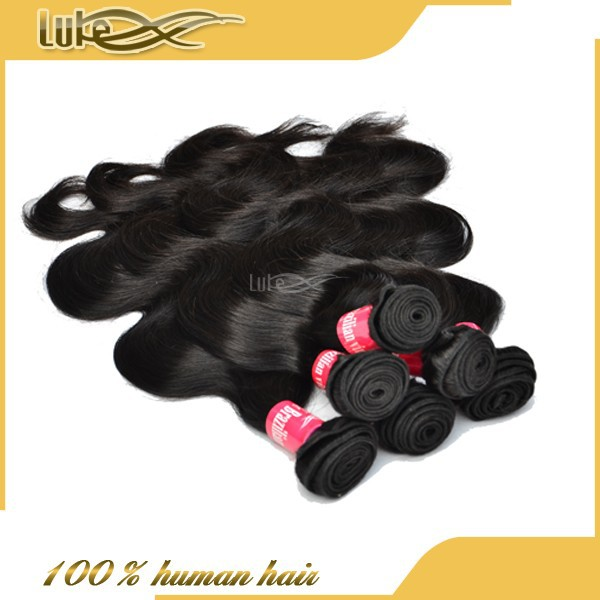 Luke hair Hot sale in 2015 virgin brazilian wavy hair natural color 1b wholesale black beauty supply