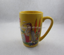 Lipton ceramic coffe mug,printed coffee mug in yellow color