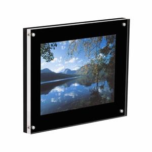 Acrylic Small Plastic Plexiglass Square Picture Frames Black Acrylic Magnetic Photo Frame for display