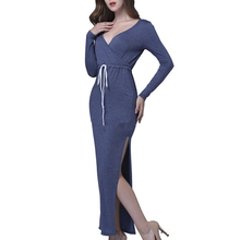 Wholesale Fashion Sexy New Maxi V Neck High Slit One Piece Long Sleeve Dress