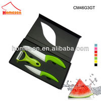 Green flat handle 3 pieces ceramic knife set peeler with EVA window gift box