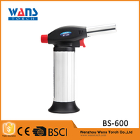 Outdoor portable plastic electronic barbecue welding heating butane BS-600 white gas lighter