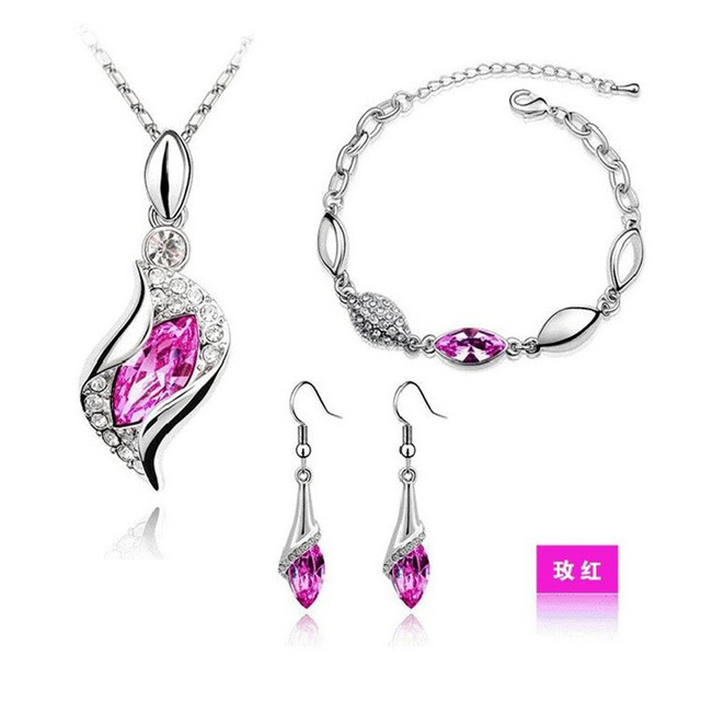 MODA Elegant Luxury Design New Fashion 18k Gold Plated Colorful Austrian Crystal Drop Jewelry Sets Women Gift