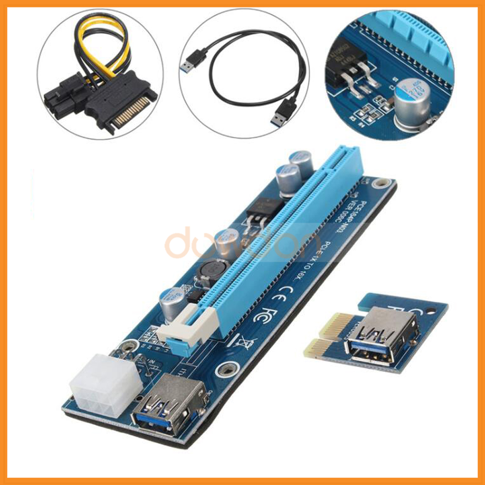 PCI-E 1x to 16x PCI Express Extender Riser Card USB 3.0 PCI-E Extension Adapter with SATA 15pin to 6pin Power Cable