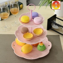 3 Tier Dessert Tray Bone China Ceramic Cake Plate Stand Candy Service Dishes Christmas Round Porcelain Dry Fruite Plate Pink