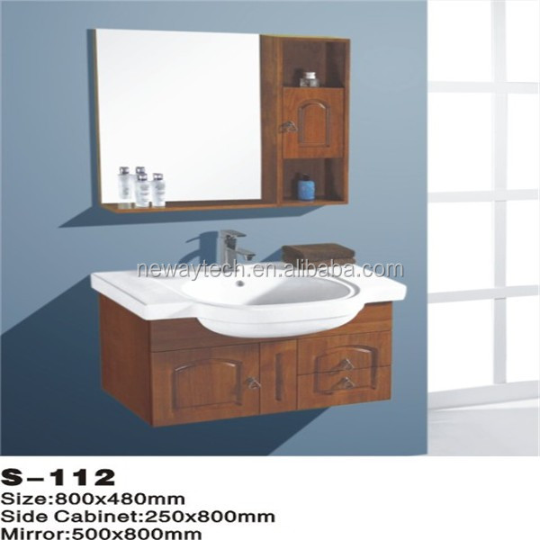 Simple wall mounted commercial solid wood bathroom vanity units with mirror