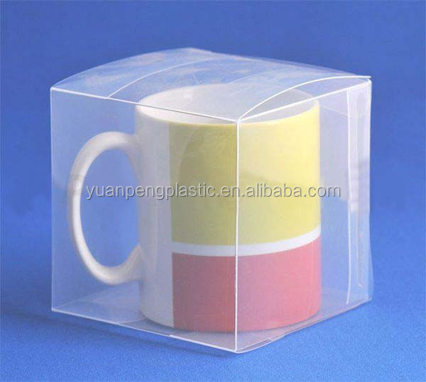 Custom clear plastic mug box for coffee mug,transparent PVC/PET plastic mug packaging box wholesale