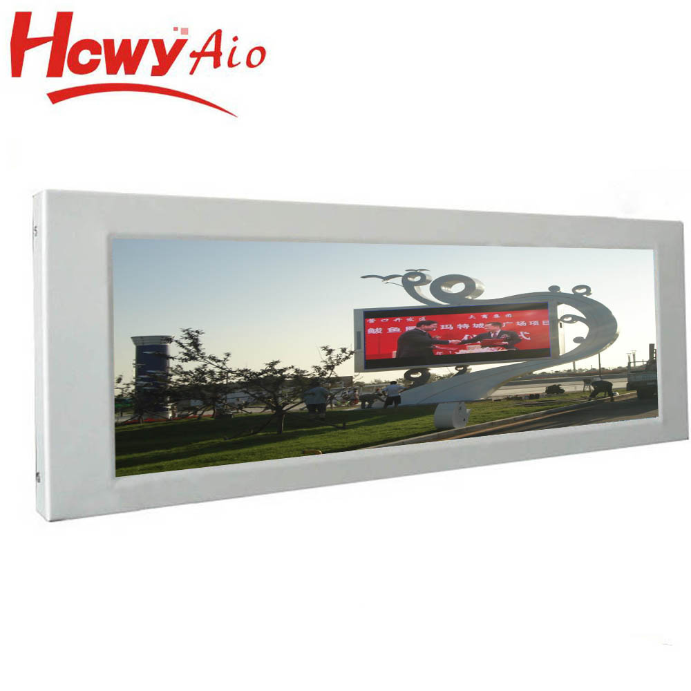 wonderful 24inch Ultra Wide Bar Stretched LCD widescreen monitors AD digital signage with 2pcs x 5W Speaker