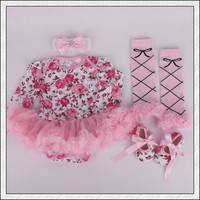 R&H Pink print long sleeve formal factory price high quality kid clothes girls dresses