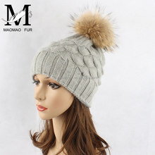 High Quality Custom Wool Cotton Acrylic Blend Real Fur Ball Beanie Knitting Winter Wholesale Hats Canada