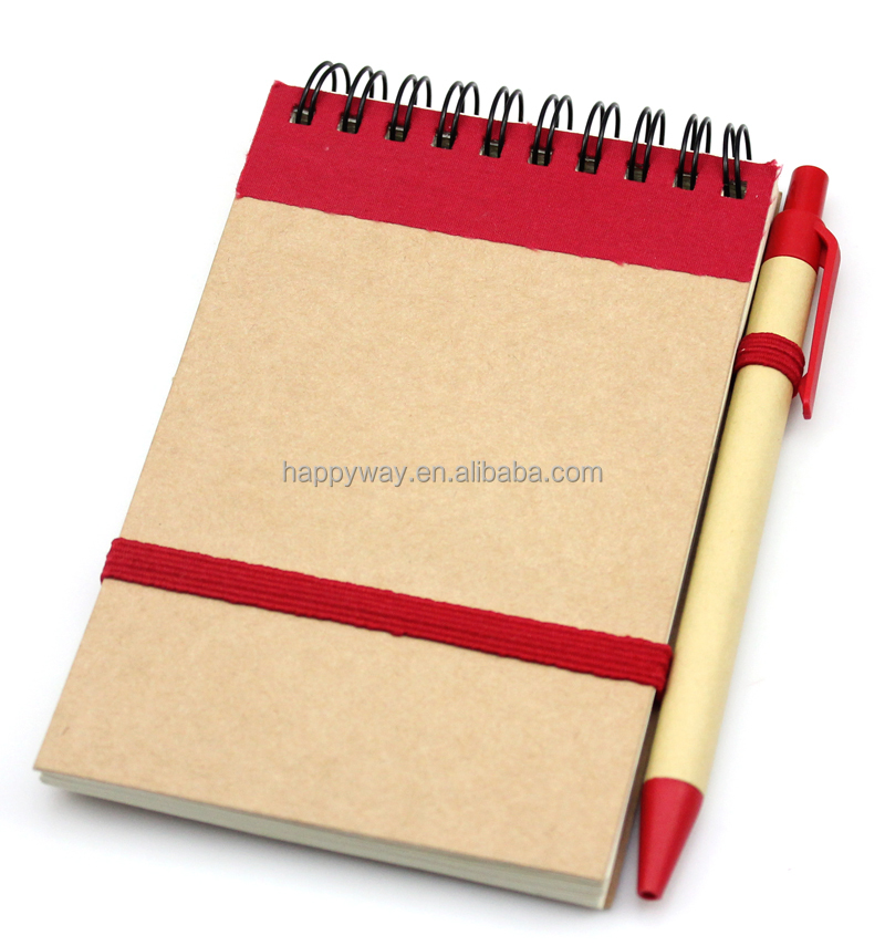 Recycled brown paper mini notepads with pen MOQ100PCS 0703001