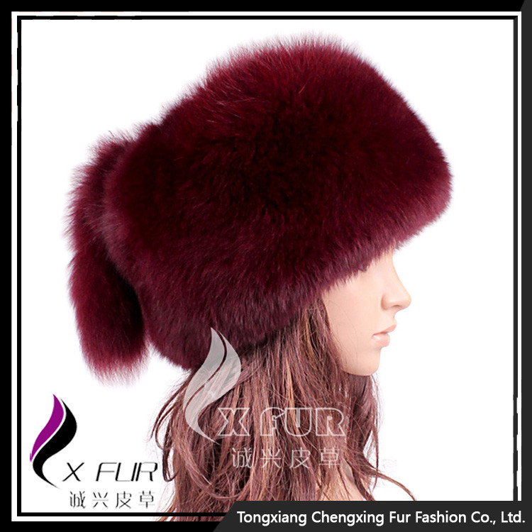 CX-C-169C Alibaba Genuine Fox Fur Girls Custom Winter High Quality <strong>Cap</strong>