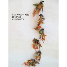 120cm Foam Pumpkin and Pinecones and Leaves Wholesale Autumn artificial flower decoration garland