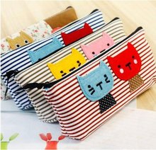 Canvas cat printing stripe cute pencil bag