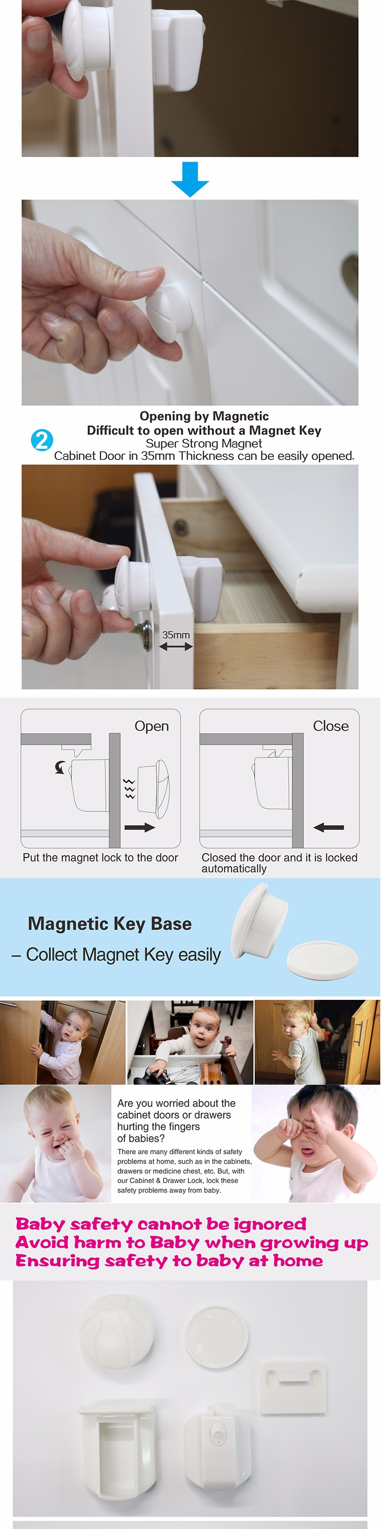 Magnetic baby child kids safety lock Magnetic Locking System drawer cabinet cupboard magnetic lock