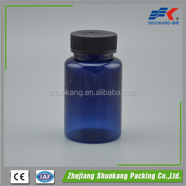 120ml blue pet capsule bottle with metal screw cap, pet plastic bottles for pill medicine wholesale made in China
