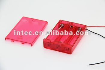 3AA red battery holder with wire leads, with switch and cover-Red Color