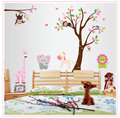 Removable PVC Wall Sticker Monkey Owl Animals Tree Vinyl Wall Decal Stickers Kids Room