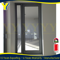 Good quality thermal break aluminum french unbreakable glass house door