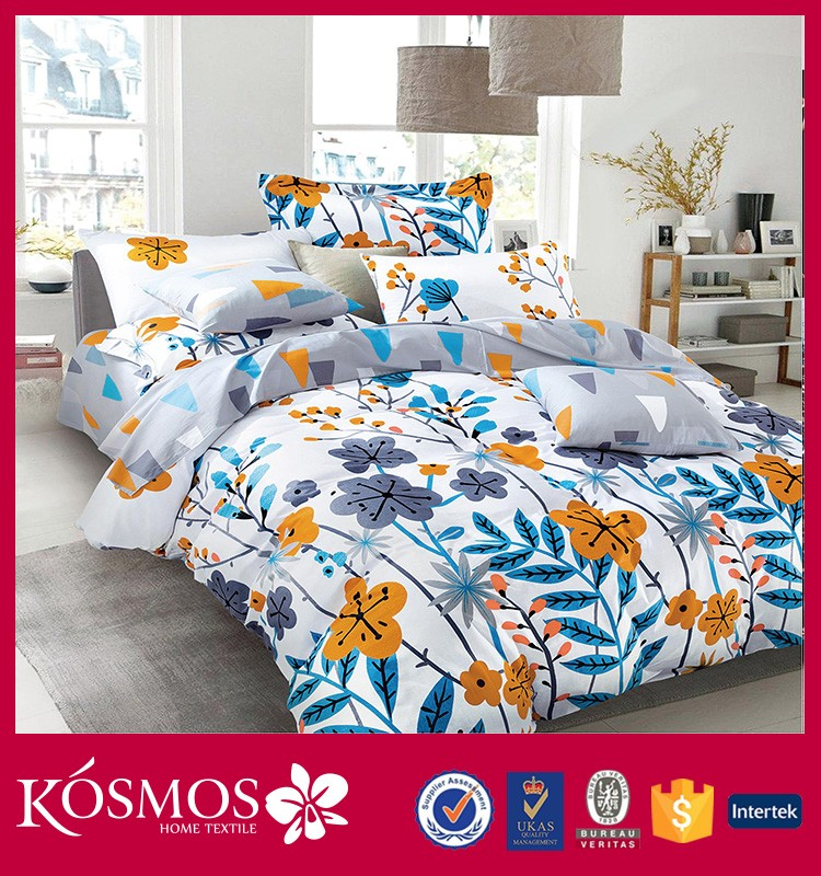 china suppiler home textile bed sheets high quality king size bedding set printing cotton bright color duvet cover set