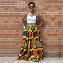 NJ0543 2017 New trend floral african print party wear women long skirt