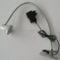 3W flexible arm long swing arm led table task lamp with clip