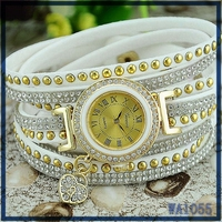 2016 Top Sale clock wrist watch Mexico popular white leather bracelet crystal decoration heart pendant alloy metal quartz watch