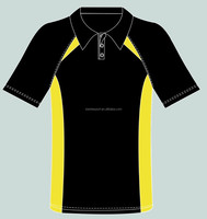 custom sports golf microfiber black and yellow polo shirt for men