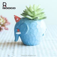 Roogo resin blue elephant garden pots and planters decor and gifts