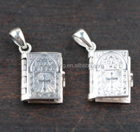 925 Silver Religion Pendant Sterling Silver Bible Charm for Christian