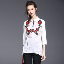 Spring white frock shirt slim new professional embroidery embroidery cotton liner