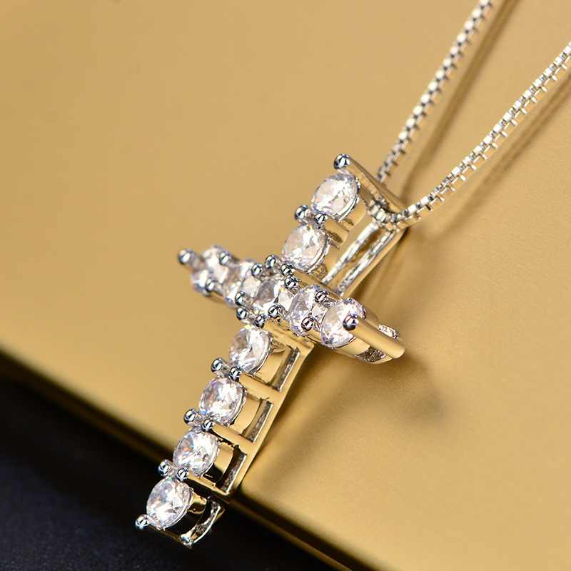 HP068 Huilin Jewelry American style Cross diamond Pendant Necklace for Unisex