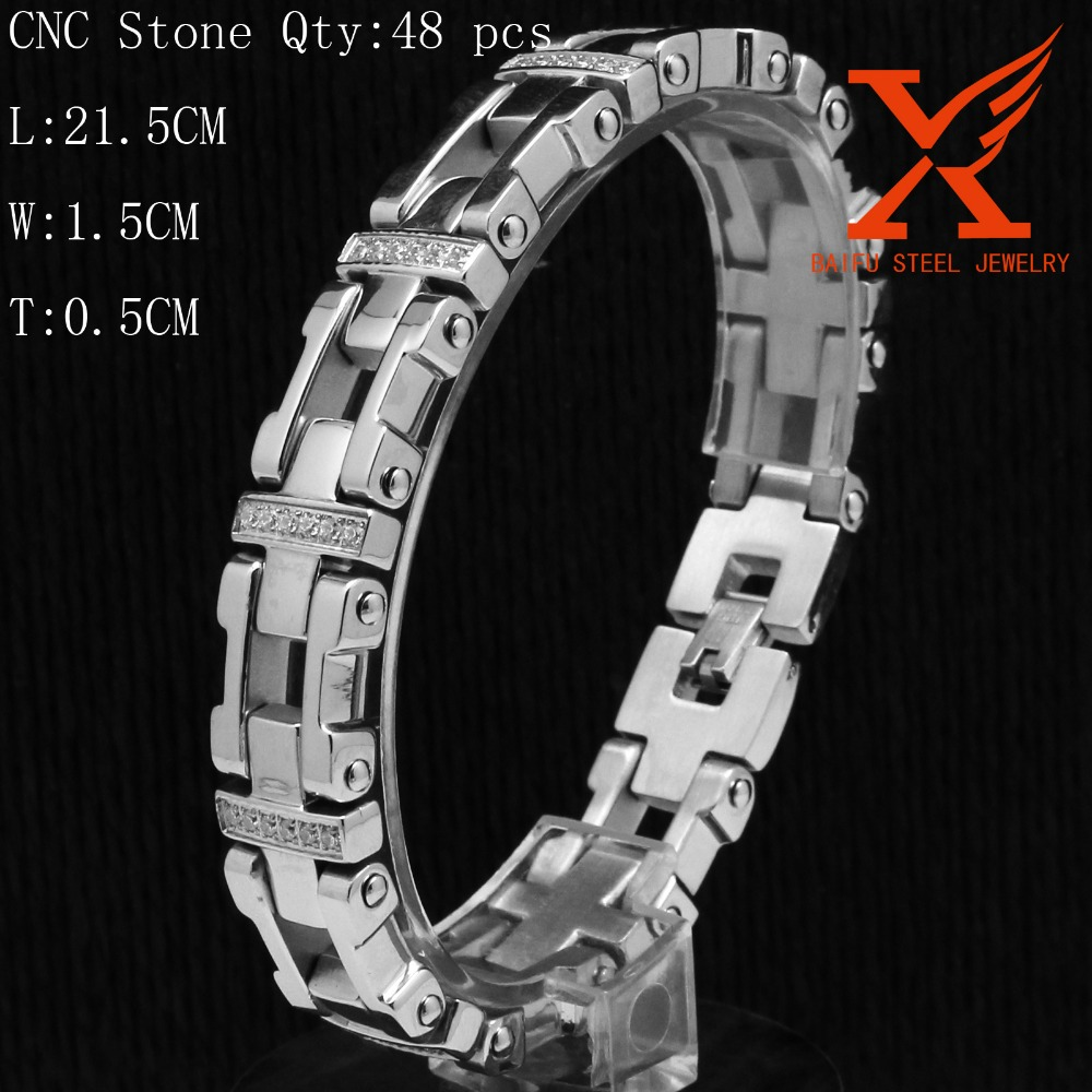 IN Stock Men's CNC Finish Silver Tone Stainless Steel Jewelry Plus Sign Link Zircon Diamond Charm Bracelets & Bangles