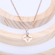 Fashion jewelry! micro insert zircon titanium steel necklace quatrefoil four leaf clover cross pendant lariat necklace