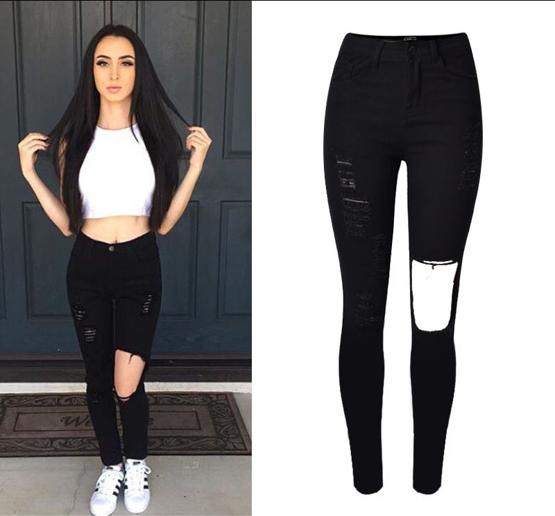 W0814 2016 Fashion Cotton Womens Black High Waist Torn Jeans Ripped Hole Knee Skinny Pencil Pants Slim Capris For Women