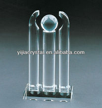 3D laser etched crystal block/clear crystal glass blank cue/crystal trophy