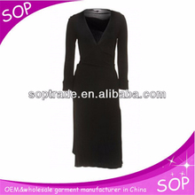 Women autumn one piece simple sexy deep v neck long sleeve dresses