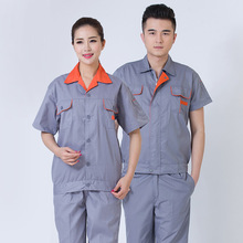 Pure cotton summer short-sleeved work clothes