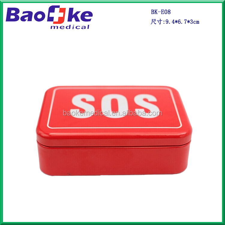 SOS survival kit for outdoor camping hiking in small metal tin box