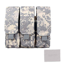 Nylon Tough Heavy Duty Compatible Universal Tactical MOLLE Triple Pistol Magazine Or Mobilephone Or Military Gear Pouch