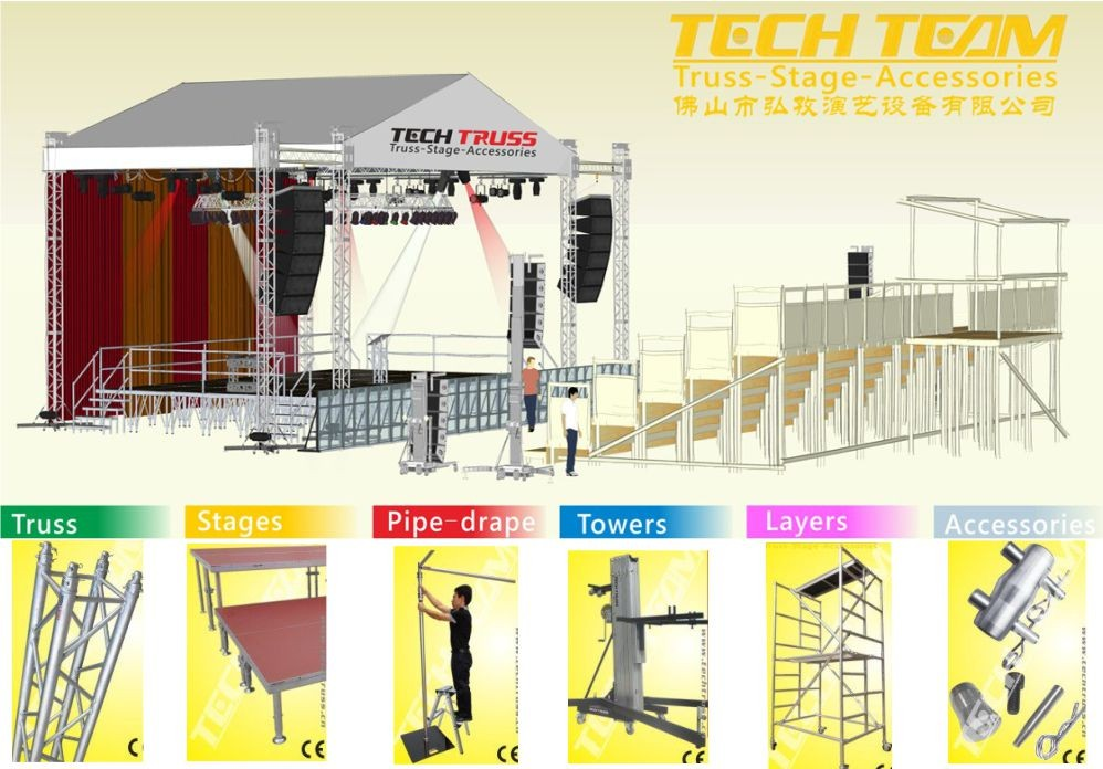 Multipurpose square 400mm stage truss system for sale