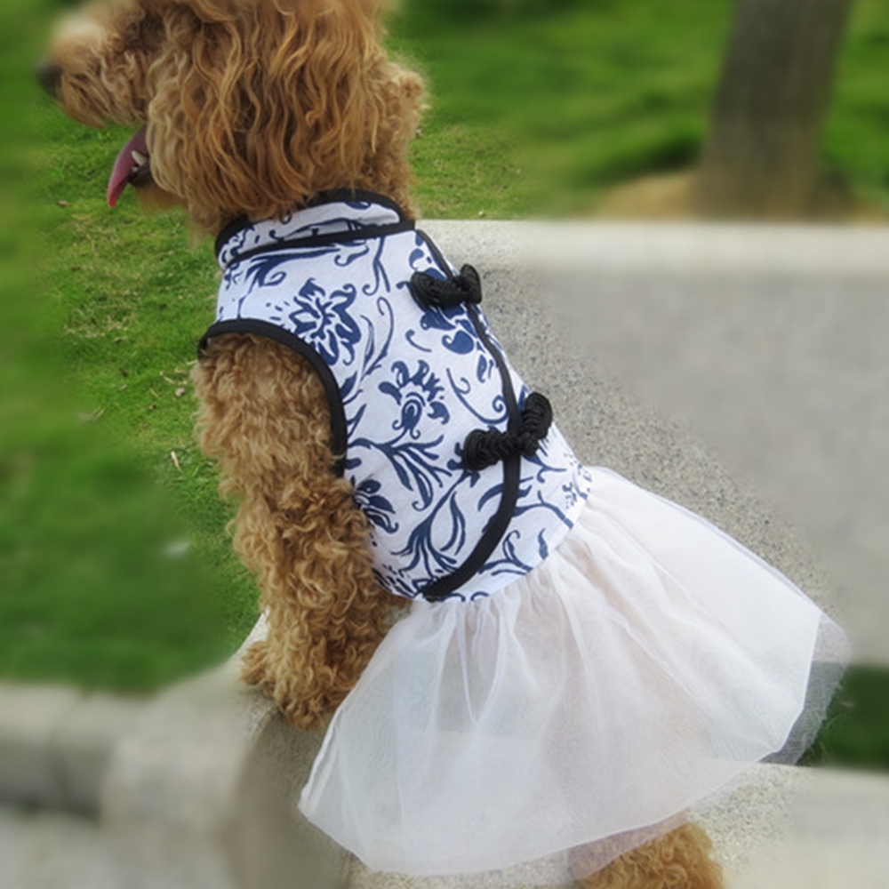Dog Cheongsam Tutu Dress Chinese Dog Clothing
