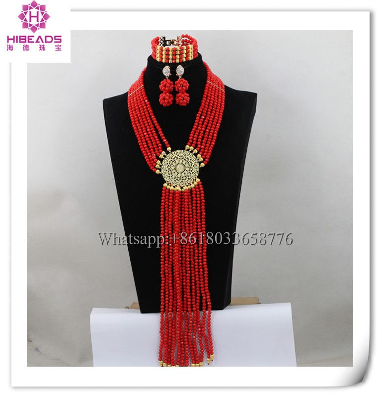 2016 fashion design red african body beads jewelry set indian costume necklace jewellery