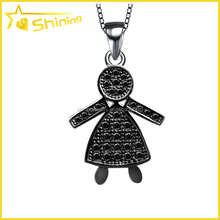 italy fashion sterling silver 925 micro pave cubic zirconia silver boy pendant